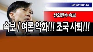속보 / 여론 악화!!! 조국 사퇴!!! / 신의한수 19.10.14