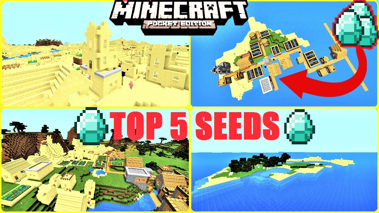 Minecraft PE TOP 5 SEEDS HUGE VILLAGES LOTS OF