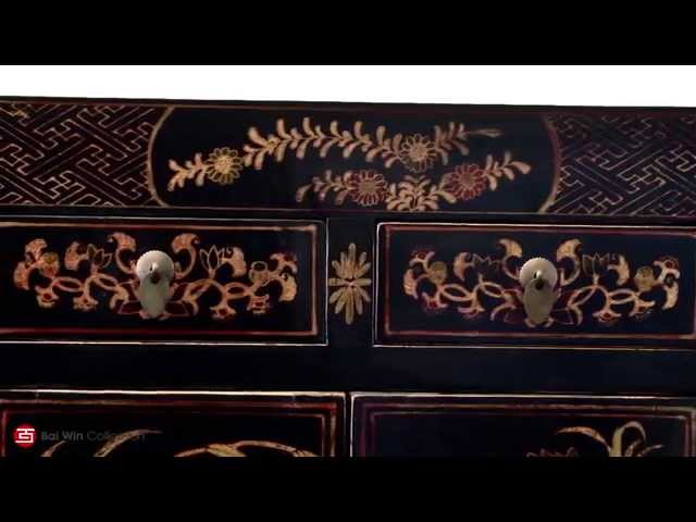 Contemporary Elm cabinet decorated with gilded floral designs