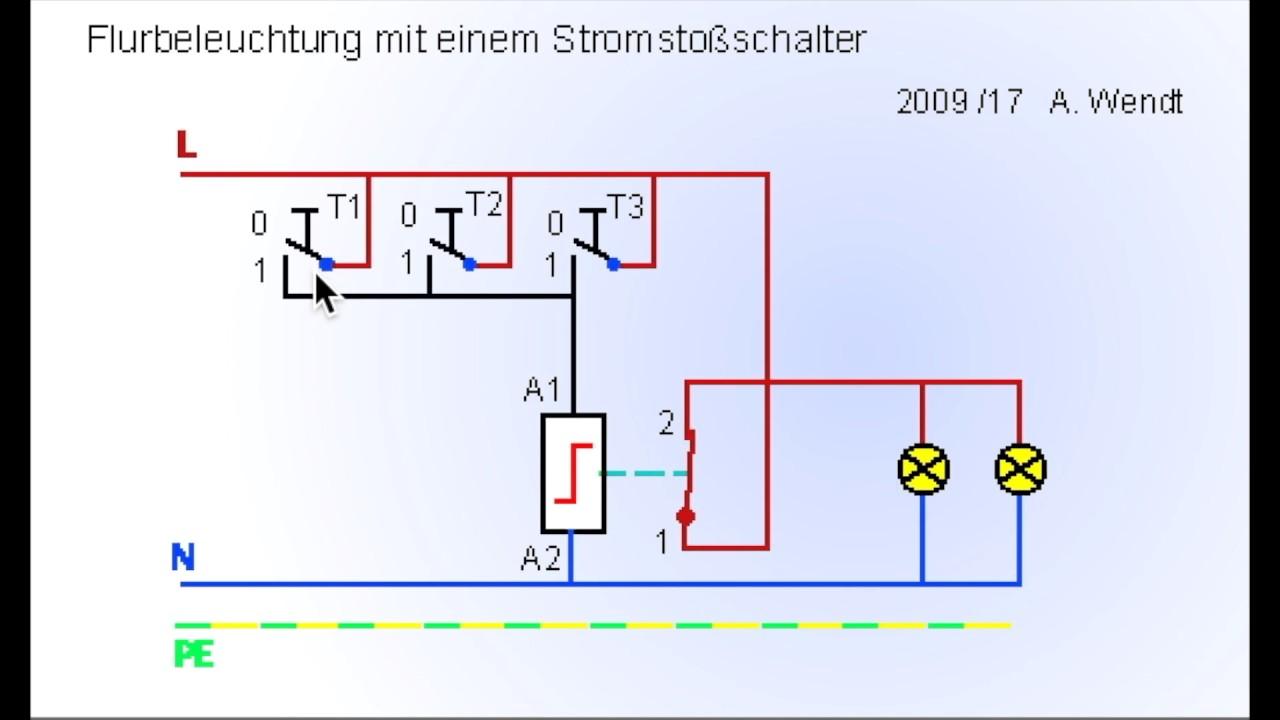 Flurbeleuchtung Mit Stromstossschalter Vereinfacht Youtube
