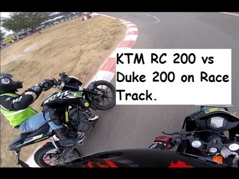 KTM RC 200 vs Duke 200 on Race Track.