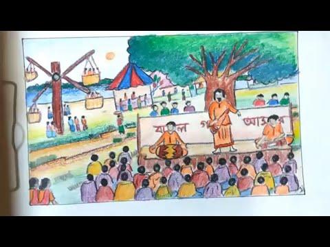 How to draw scenery of Pohela Boishakh /festival of  Pohela Boishakh /Draw village fair step by step