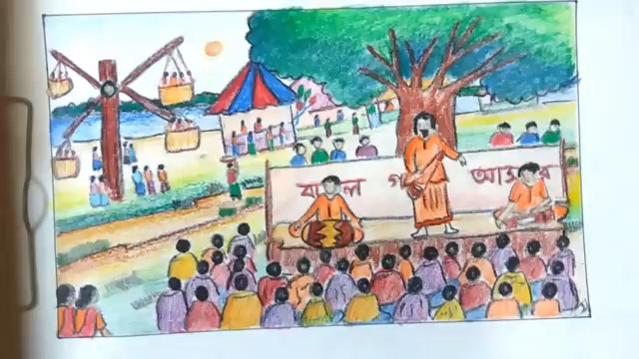 How To Draw Scenery Of Pohela Boishakh Festival Of Pohela Boishakh Draw Village Fair Step By Step