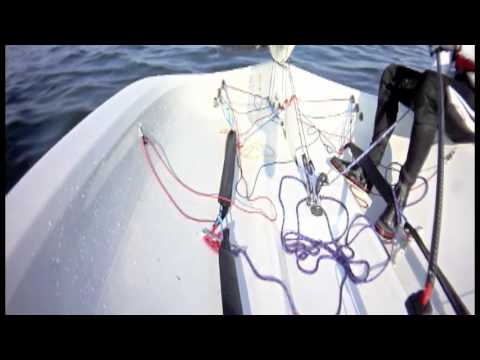 RS300 sailing flat, with leeward heel, windward heel and tacking