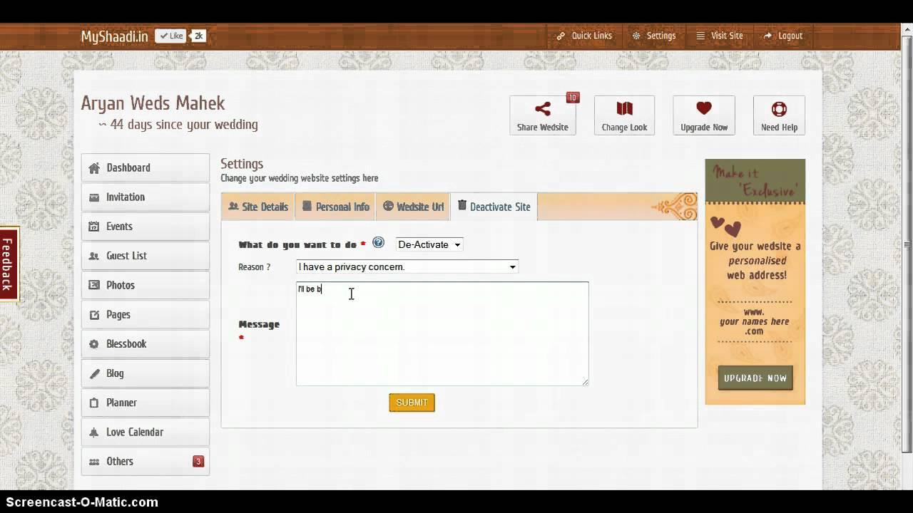 how to delete shaadi profile