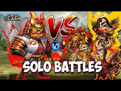 Castle Clash - Ronin VS SK, GF, Michael !!!!! | Solo Battles