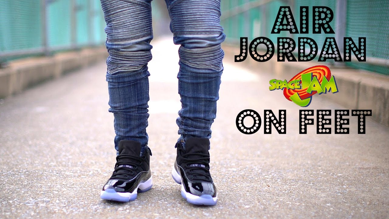 huge discount 3c7f7 7ead7 AIR JORDAN 11 SPACE JAM ON FEET 2016 - YouTube