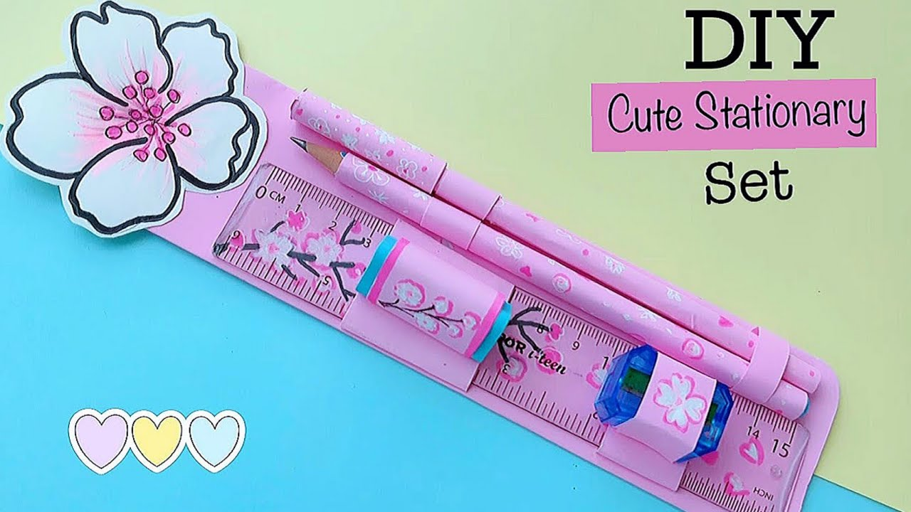 Diy cute stationery set at home /How to make cute stationery set /Paper craft /Diy school stationery