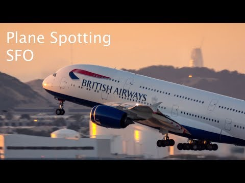 [4K] Sunset Plane Spotting at San Francisco Airport SFO Series 3 - A380, A350, 747, 777 and more