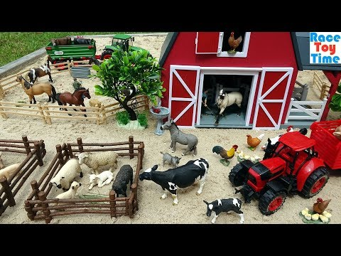 Farm Animal Toys in the sandbox