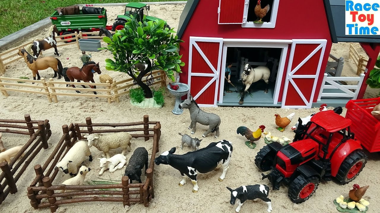 Farm Animal Toys in the sandbox