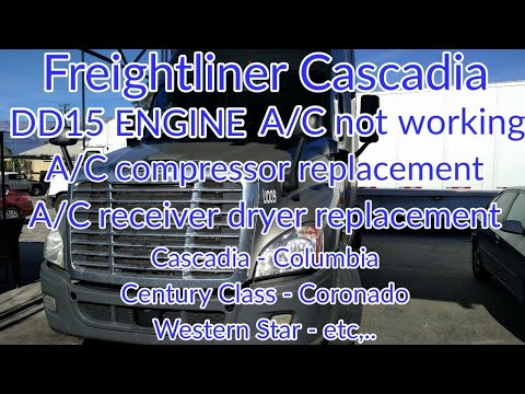Freightliner Cascadia DD13 DD15 Engine A C Not Working A C Compressor A C Dryer Removal Replacement