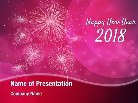 Happy New Year 2018 Design PowerPoint Template Backgrounds