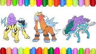 Pokemon coloring pages for kids - Raikou, Entei and Suicune