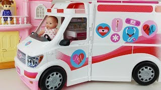 Baby doll car and Ambulance hospital Doctor toys play house story - ToyMong TV 토이몽