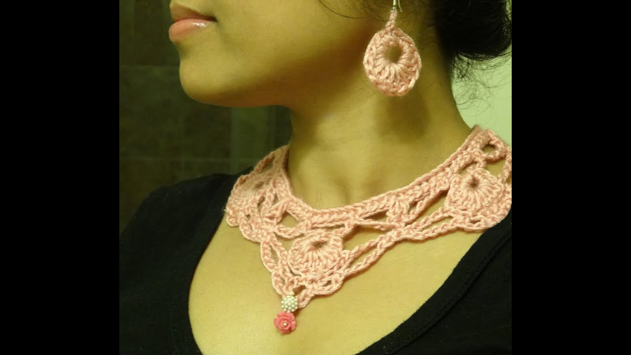 Part 1 how to crochet necklace and earring youtube ccuart Gallery