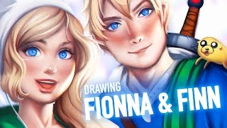 Drawing Fionna and Finn (Adventure Time) //EQUILLYBRIUM