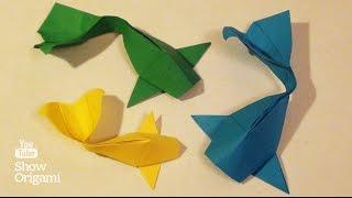 Оригами: РЫБКА КОИ - как сделать из бумаги