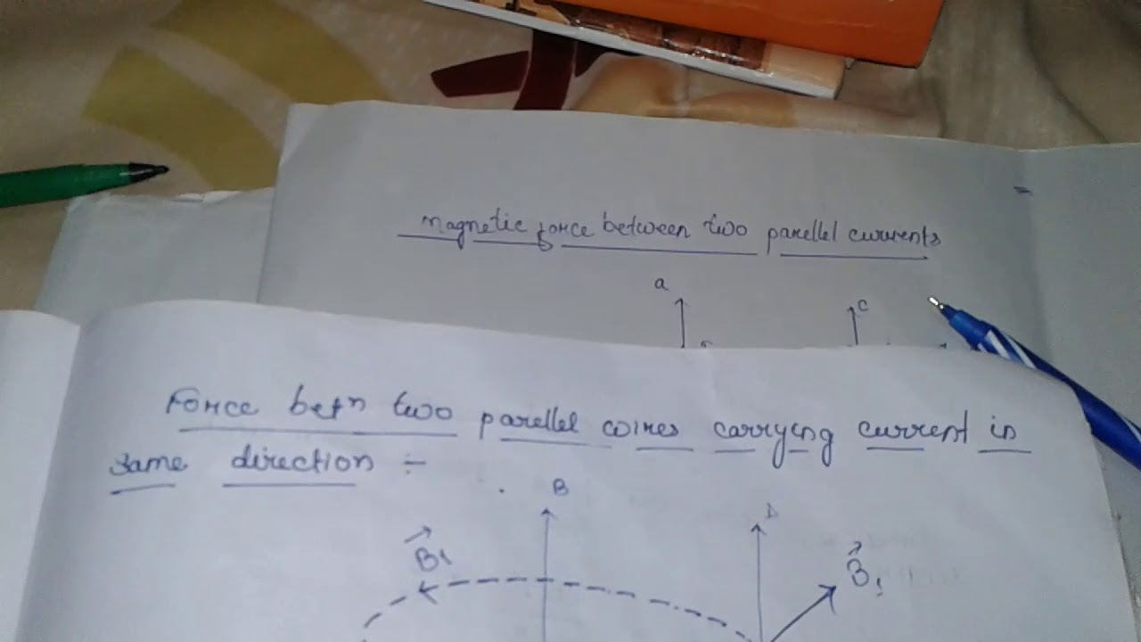 The magnetic force produce between the two wires carrying current in ...