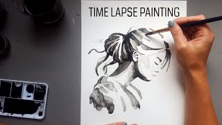 Time lapse painting in ink - speed painting process - Woman portrait