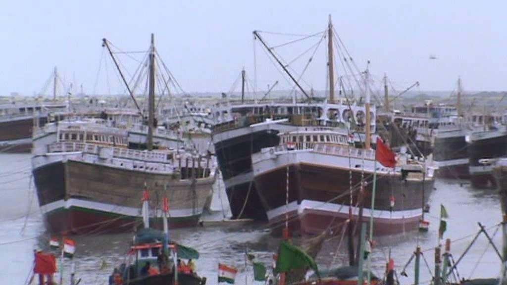 Indian Sailing Vessels at Salaya Port during monsoon