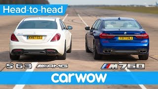 Mercedes-AMG S63 vs BMW M760 - DRAG RACE, ROLLING RACE & BRAKE TEST | Head-to-Head