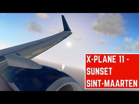 X-Plane 11   FANTASTIC Sint-Maarten TNCM Approach and landing during sunset!