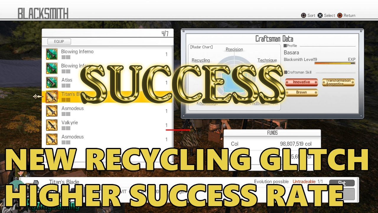 Sword Art Online: Hollow Realization - NEW Recycling Glitch Higher Success  Rate (NOT DUPLICATION)