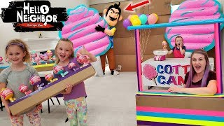 Hello Neighbor in Real Life Destroys Our Cotton Candy Cuties Box Fort Shop! Toy Scavenger Hunt!!