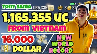 New world record - 1,165,000 UC = 16,000 Dollar | Spending 165,000 Uc | King Of UC | Pubg Mobile