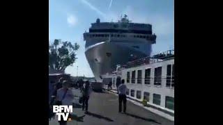 À Venise, ce bateau de croisière hors de contrôle a heurté un quai et semé la panique