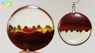 Necklace Pendants from Wood and Resin / Resin Jewelry