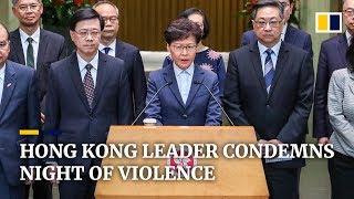 Hong Kong leader condemns night of violence