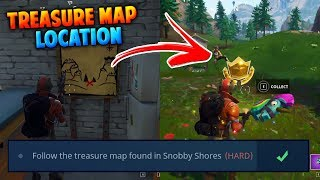 FORTNITE: SNOBBY SHORES TREASURE MAP LOCATION *BATTLE PASS WEEK 3* (SNOBBY SHORES TREASURE MAP)