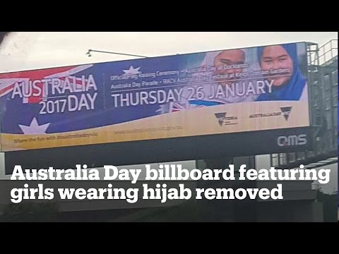 Australia Day billboard featuring girls in hijab removed