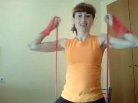 Elasticas gomas brazos con ejercicios