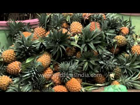 Pineapples piled up for sale in Kerala city