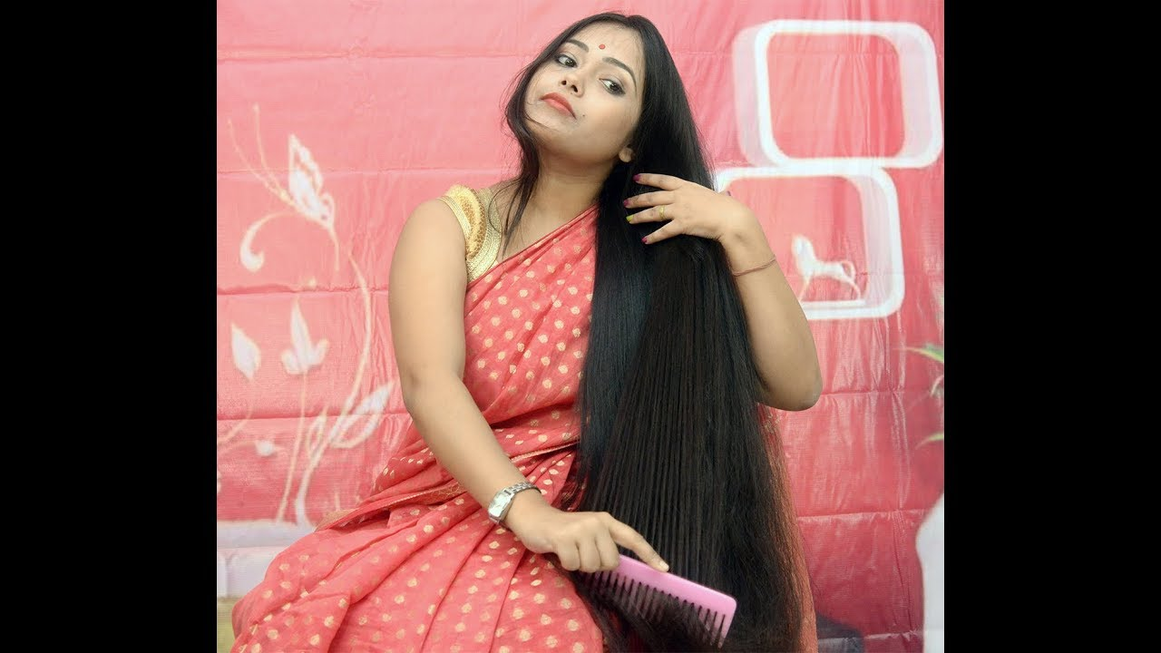 Attractive longhair receives a hairshot