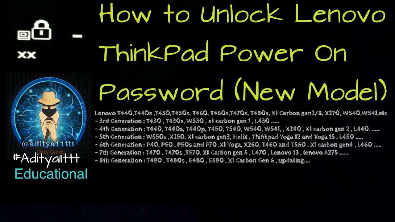How to unlock BIOS Supervisor Password from Lenovo Thinkpad Laptops  #Aditya11ttt & #Satishbhai