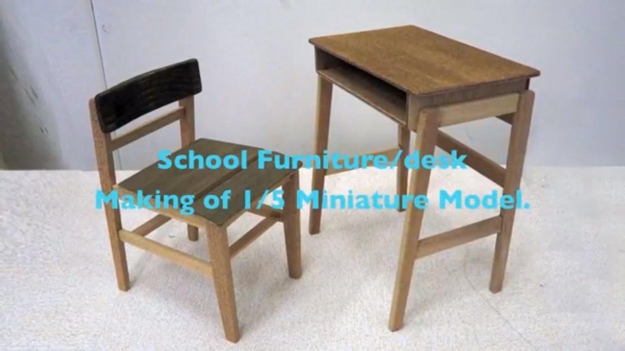 004 1 school furniture desk scale model youtube for Scale model furniture