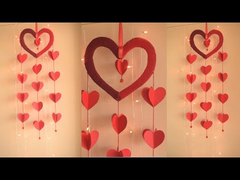 DIY PAPER HEART WINDCHIME | easy paper craft ideas | parulpawar