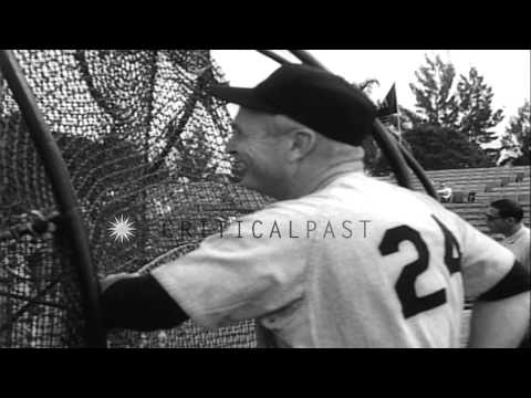 Players of baseball team Los Angeles Dodgers practice under guidance of team mang...HD Stock Footage
