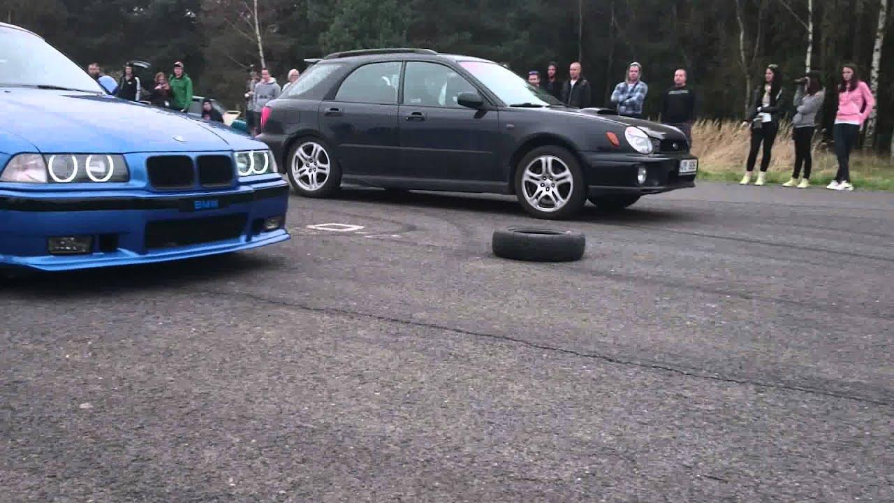Sprintovn s Elikou III  BMW M3 E36 vs Subaru Impreza WRX Combi
