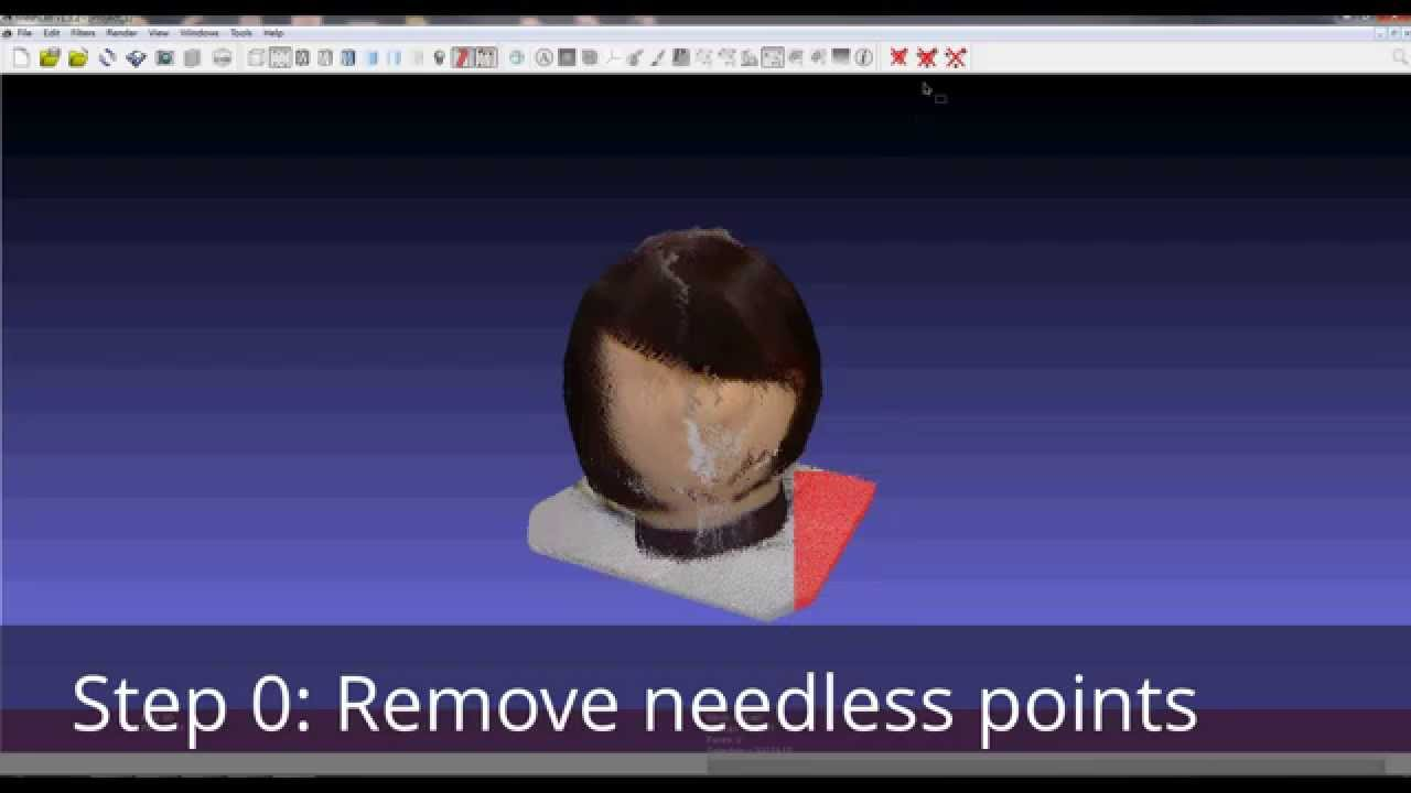 Convert color point cloud to textured mesh using Meshlab