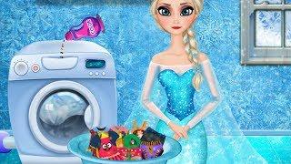 Elsa Washing Clothes Online Game