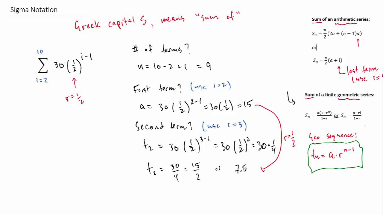 Sigma Notation - Arithmetic and Geometric Examples