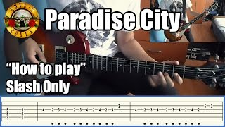 Guns N' Roses Paradise City SLASH ONLY with tabs | Rhythm guitar