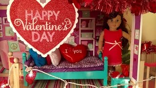 Decorating American Girl Doll House For Valentine