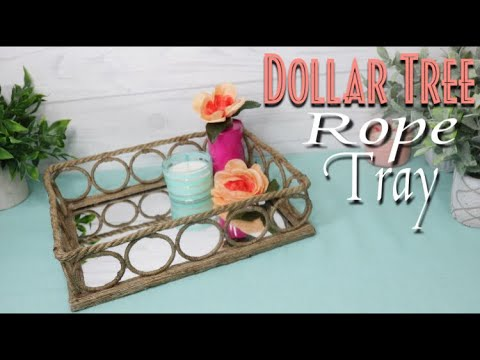 Dollar Tree DIY Mirror Rope Vanity Tray