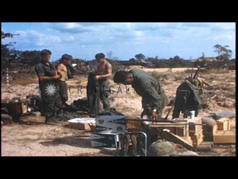 US Army 1st Infantry Division soldiers on a field during their combat operations ...HD Stock Footage